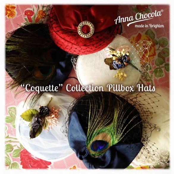 """""""Coquette"""" Burlesque Pillbox Hats - Anna Chocola Brighton"""