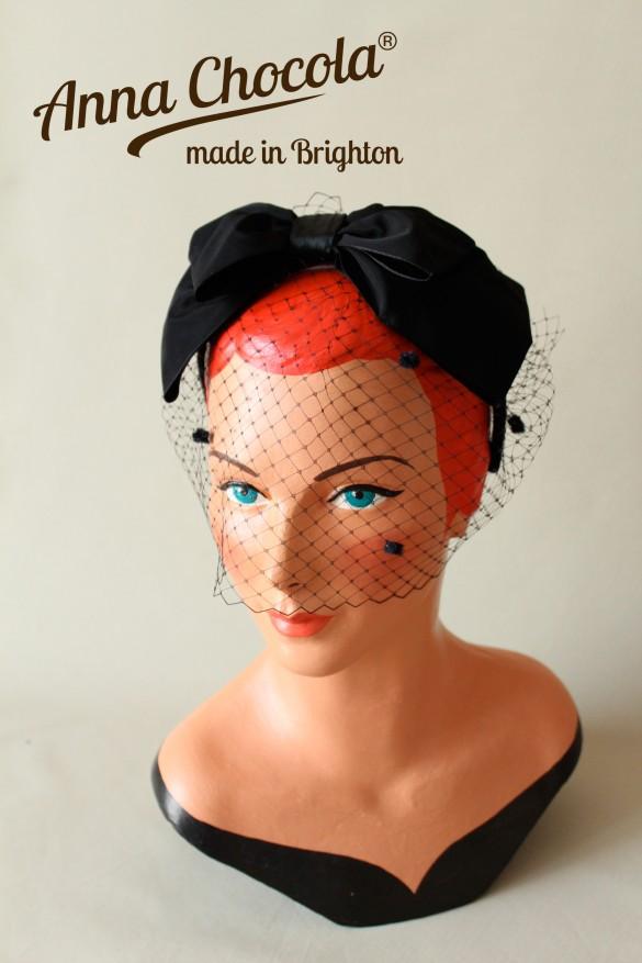 1950s Inspired Bow Headband with Birdcage Veil - Anna Chocola® Bridal 2013