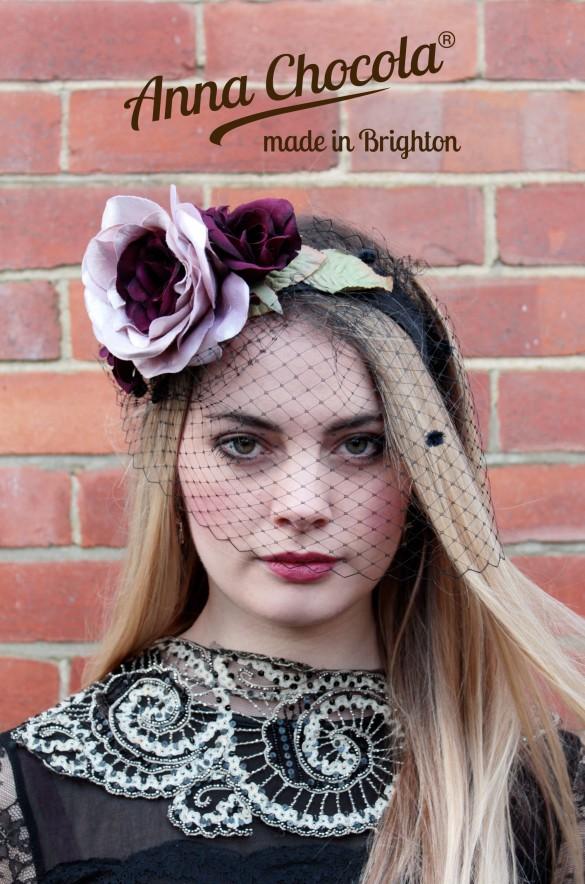 Flower Headpiece with Birdcage Veil - Anna Chocola® 2014