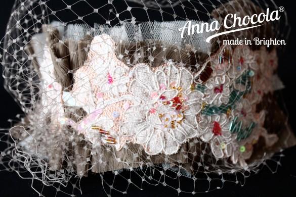 Beaded Lace Headpiece - Anna Chocola® 2014