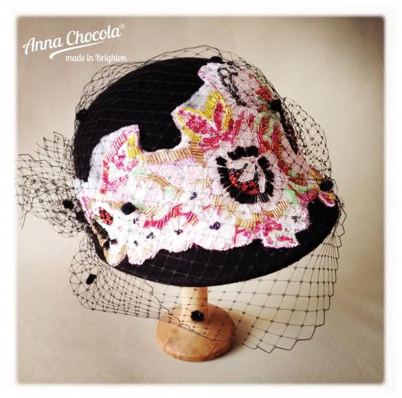 Bead embroidered felt cap with birdcage veil - Anna Chocola® 2014