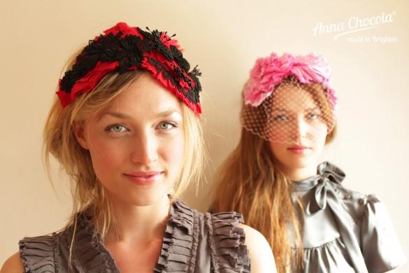 Anna Chocola Brighton Milliner- Pleated Silk  headpieces