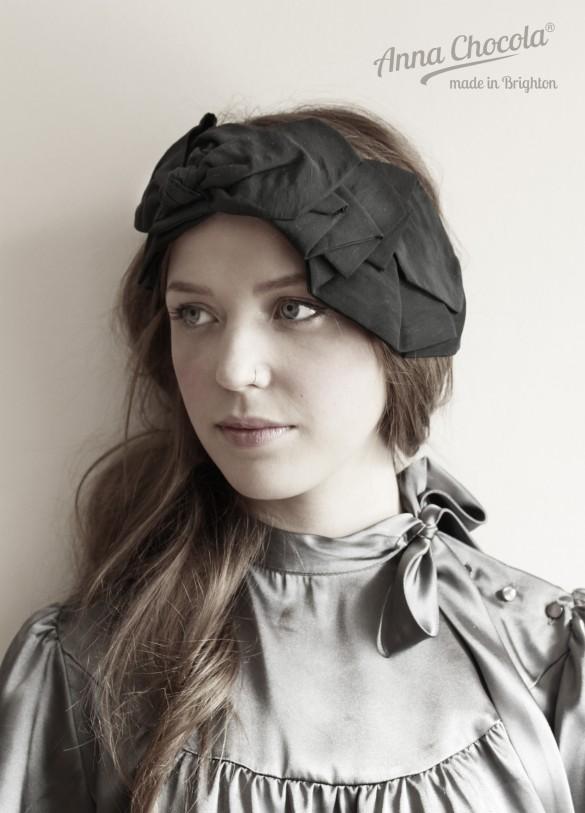 Anna Chocola Brighton Milliner- Pleated fabric headpiece