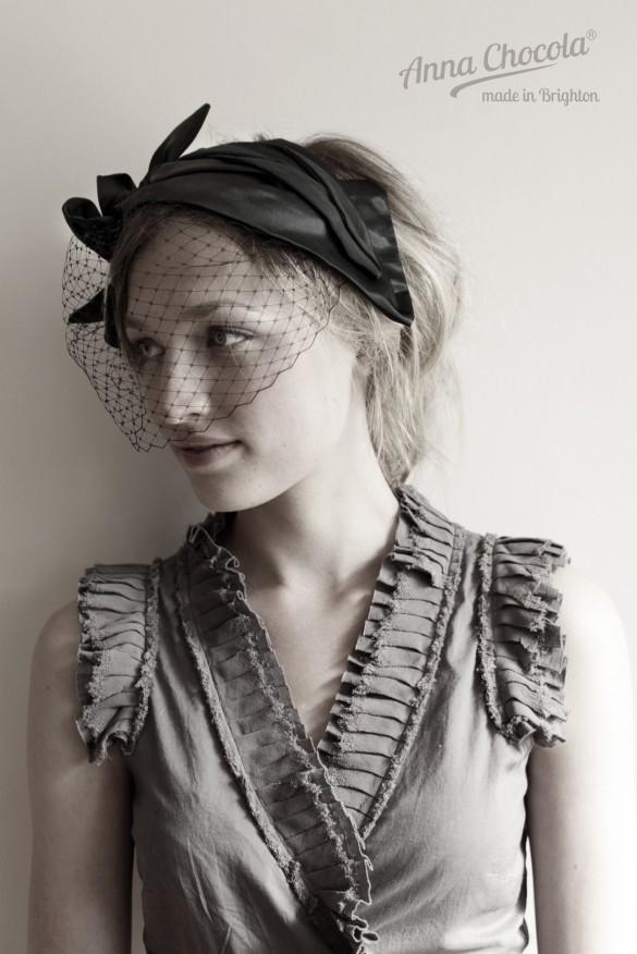 Anna Chocola Brighton Milliner- Pleated satin headpiece
