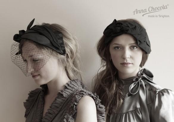 Anna Chocola Brighton Milliner- Pleated satin headpieces