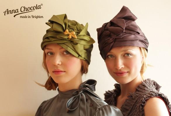 "Anna Chocola Brighton Milliner- Pleated Taffetas  ""Luxe"" Turbans"
