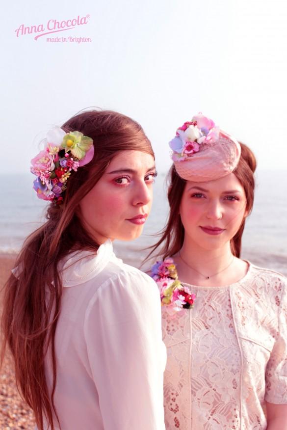 Petit Jardin headpiece  & Flower Coquette pillbox hat - Anna Chocola® Brighton MIlliner