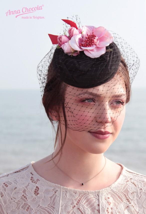 Birdcage Veil Flower Coquette pillbox hat - Anna Chocola® Brighton Milliner
