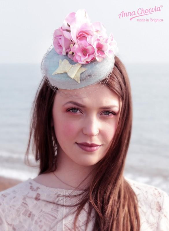 Flower Coquette pillbox hat - Anna Chocola® Brighton Milliner