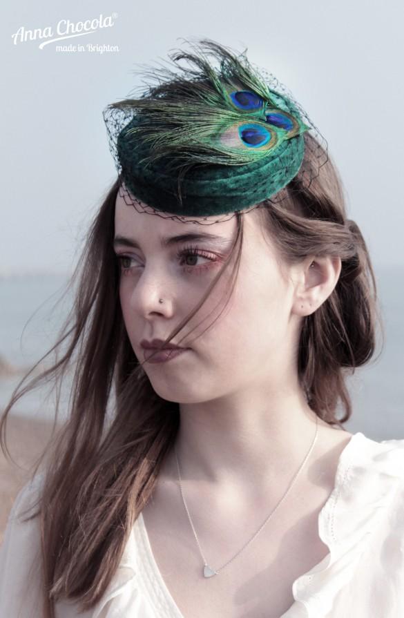 Peacock Feathers Coquette pillbox hat - Anna Chocola® Brighton Milliner