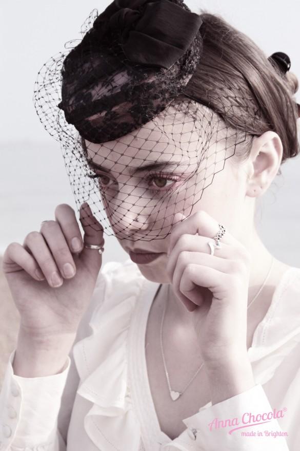 Birdcage Veil Coquette pillbox hat - Anna Chocola® Brighton Milliner