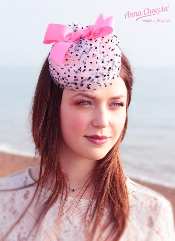 Candy Coquette pillbox hat - Anna Chocola® Brighton Milliner